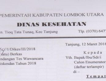 Jadwal Tes Wawancara Calon Enumerator Riskesdas Prov NTB 2018 Kab Lombok Utara